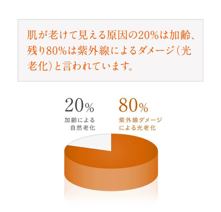 肌が老けて見える原因の20%は加齢、残り80%は紫外線によるダメージ(光老化)と言われています。