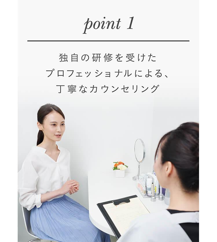 point1 独自の研修を受けたプロフェッショナルによる、丁寧なカウンセリング